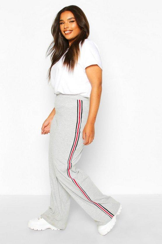 Plus Soft Rib Side Stripe Trousers