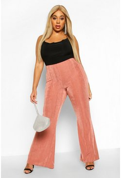 Champagne Plus Slinky High Waist Flared Trouser