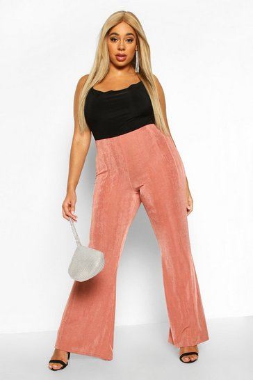 Womens Champagne Plus Slinky High Waist Flared Trouser