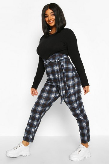 Womens Teal Plus Check High Waist Trousers