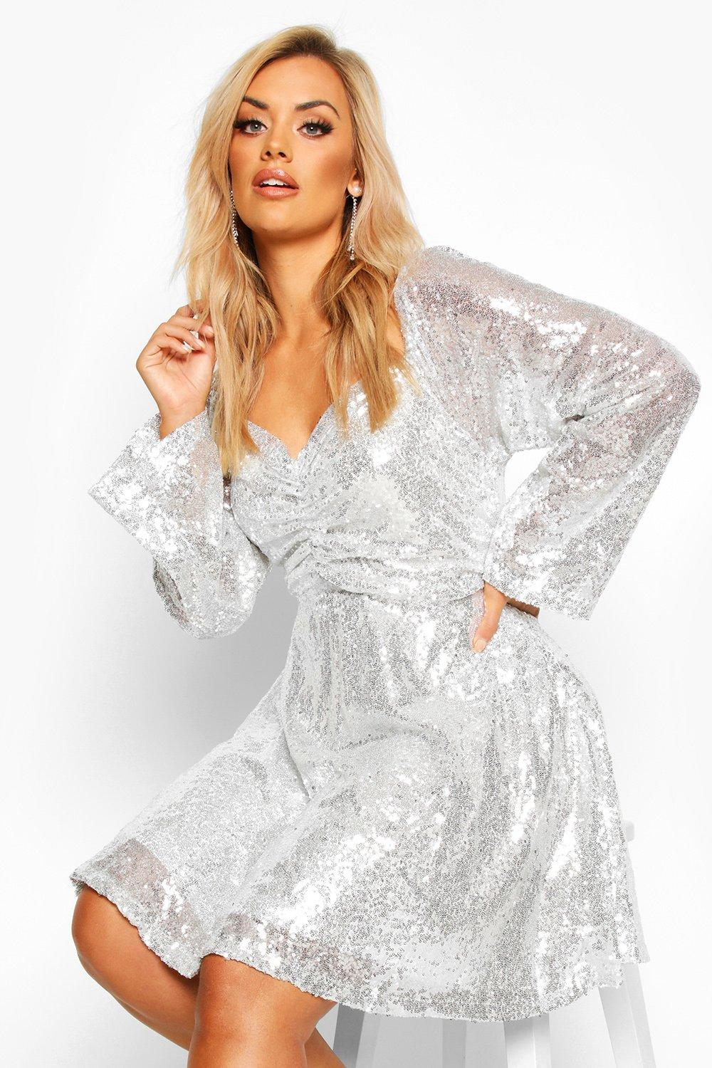 60s 70s Plus Size Dresses, Clothing, Costumes Womens Plus Sequin Puff Sleeve Ruched Detail Skater Dress - Grey - 16 $40.00 AT vintagedancer.com
