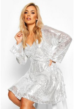 Silver Plus Sequin Puff Sleeve Ruched Detail Skater Dress