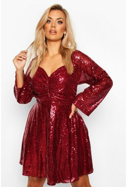 Wine Plus Sequin Puff Sleeve Ruched Detail Skater Dress