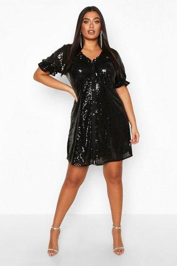Plus Sequin Puff Sleeve Skater Dress