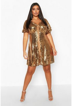 Womens Gold Plus Sequin Puff Sleeve Skater Dress
