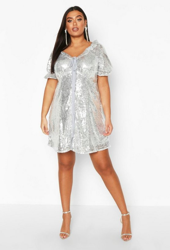 Silver Plus Sequin Puff Sleeve Skater Dress