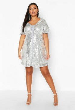 Womens Silver Plus Sequin Puff Sleeve Skater Dress
