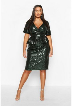 Emerald Plus Sequin Peplum Wrap Midi Dress