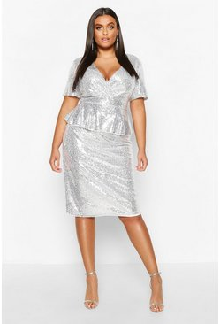Silver Plus Sequin Peplum Wrap Midi Dress
