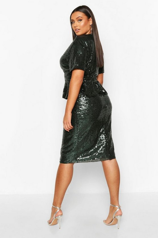 Plus Sequin Peplum Wrap Midi Dress