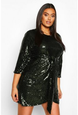Emerald Plus Sequin Kimono Sleeve Tie Waist Wrap Dress