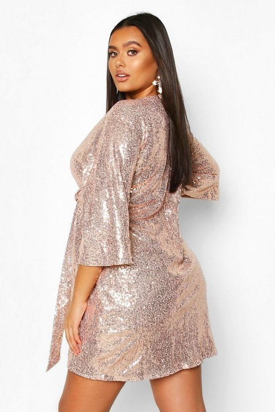 Plus Sequin Kimono Sleeve Tie Waist Wrap Dress