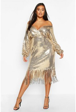 Womens Gold Plus Sequin Off The Shoulder Wrap Midi Dress
