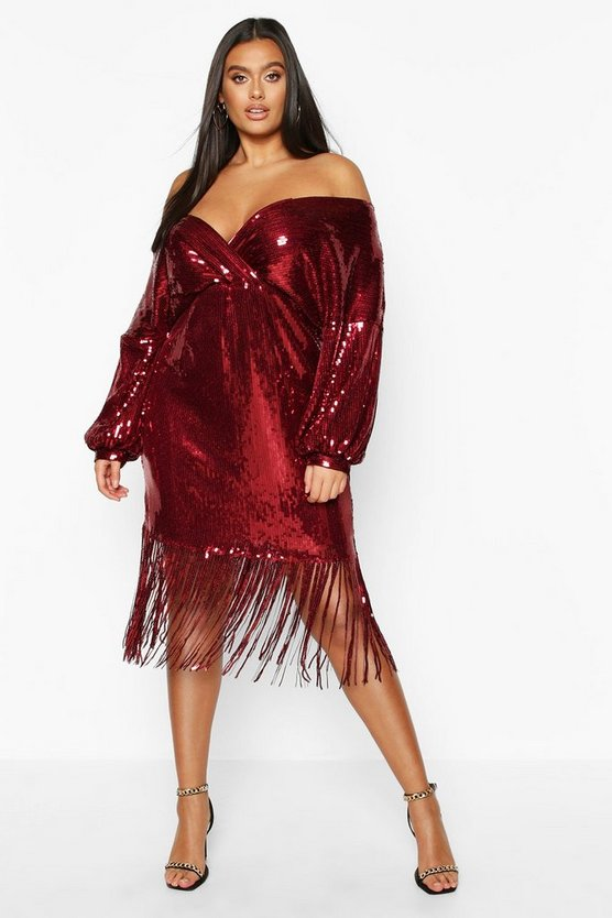 Plus Sequin Off The Shoulder Wrap Midi Dress