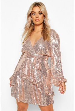 Womens Rose gold Plus Plunge Ruffle Hem Sequin Skater Dress