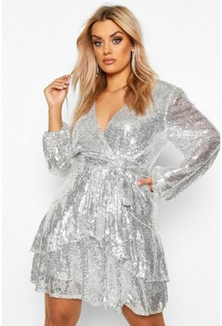 Dam Silver Plus Plunge Ruffle Hem Sequin Skater Dress