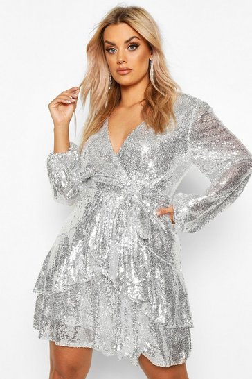 Womens Silver Plus Plunge Ruffle Hem Sequin Skater Dress