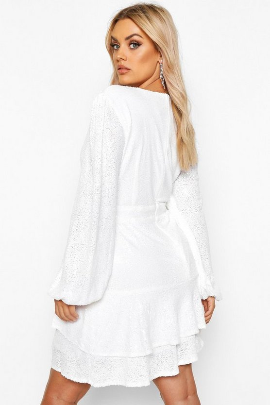Plus Plunge Ruffle Hem Sequin Skater Dress