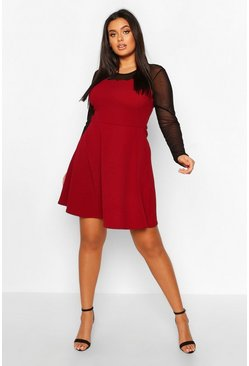 Womens Berry Plus Mesh Scallop Edge Skater Dress