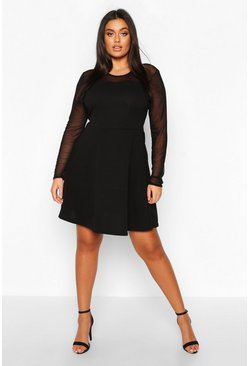 Womens Black Plus Mesh Scallop Edge Skater Dress