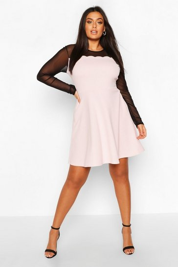 Blush Plus Mesh Scallop Edge Skater Dress