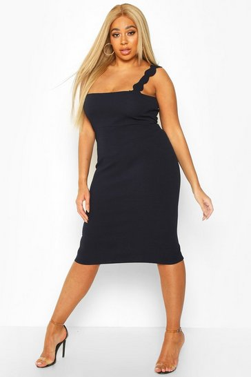 Womens Navy Plus Scallop Strap Midi Dress