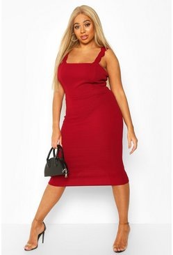 Womens Wine Plus Scallop Strap Midi Dress