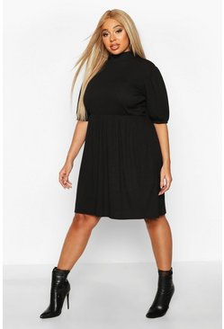 Womens Black Plus High Neck Rib Puff Sleeve Smock Dress
