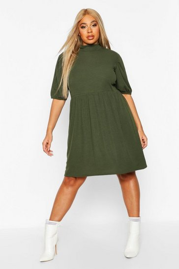 Womens Khaki Plus High Neck Rib Puff Sleeve Smock Dress
