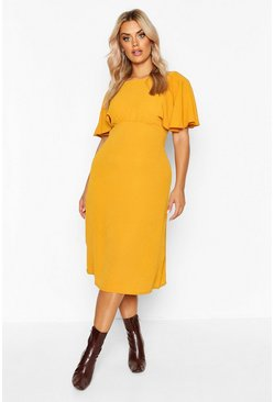Mustard Plus Ruffle Angel Sleeve Midi Dress