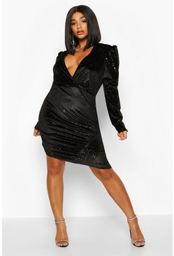 Womens Black Plus Glitter Velvet Full Sleeve Wrap Dress