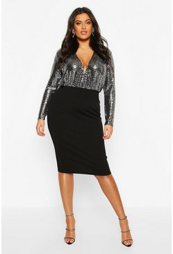 Womens Silver Plus Shimmer Wrap Contrast Midi Dress