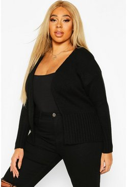 Womens Black Plus Wrap Detail Tie Belted Cardigan