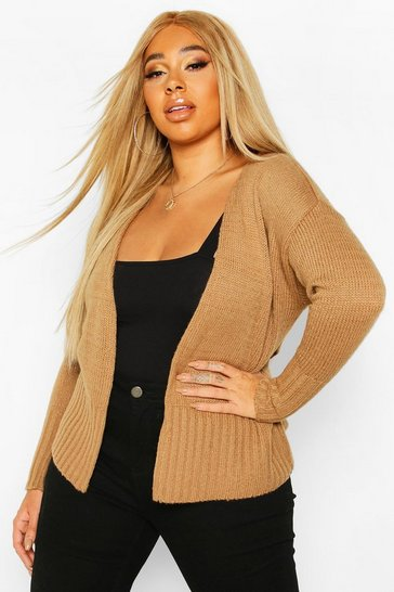 Camel Plus Wrap Detail Tie Belted Cardigan
