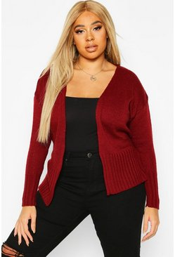 Wine Plus Wrap Detail Tie Belted Cardigan