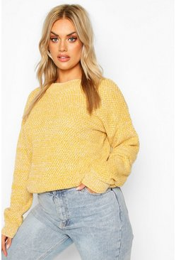 Mustard Plus Textured Oversized Knit Jumper