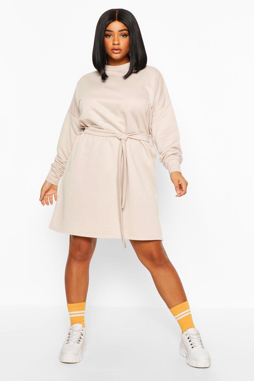 womens plus loopback waist belt sweat dress - beige - 12