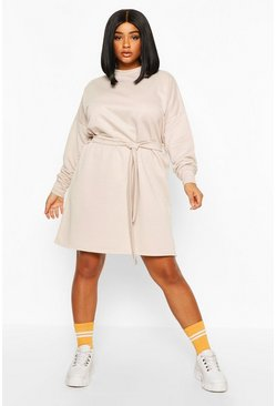 Beige Plus Loopback Waist Belt Sweat Dress