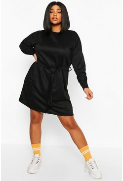 Black Plus Loopback Waist Belt Sweat Dress