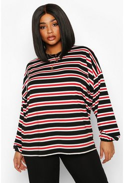 Womens Red Plus High Neck Stripe Long Sleeve Top