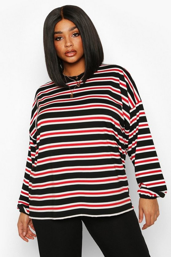 Plus High Neck Stripe Long Sleeve Top