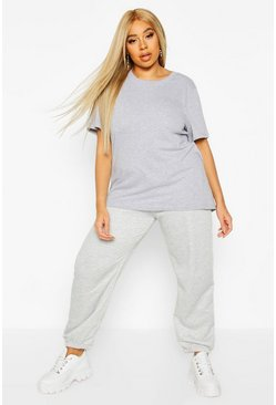 Womens Grey Plus Loopback Pocket Jogger