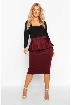Berry Plus Scuba Peplum Midi Skirt
