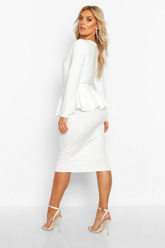 Plus Scuba Peplum Midi Skirt
