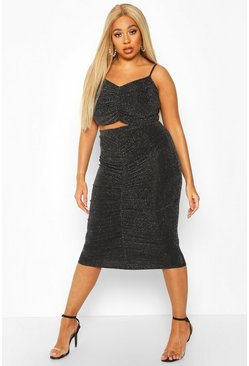 Womens Black Plus Metallic Ruched Top + Midi Skirt Co-Ord