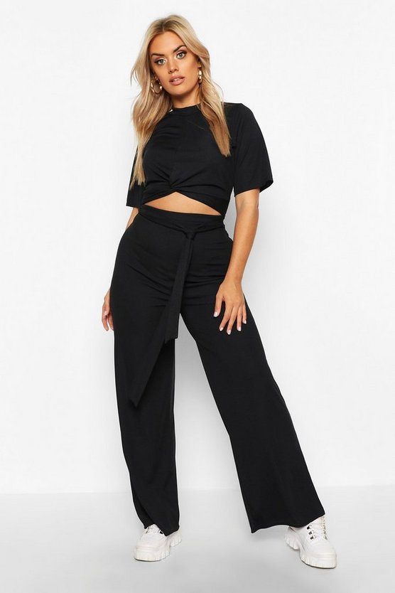 Black Plus Slinky Rib Knot Front Top + Trouser Co-Ord