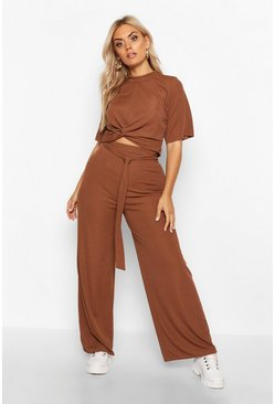 Womens Chocolate Plus Slinky Rib Knot Front Top + Trouser Co-Ord