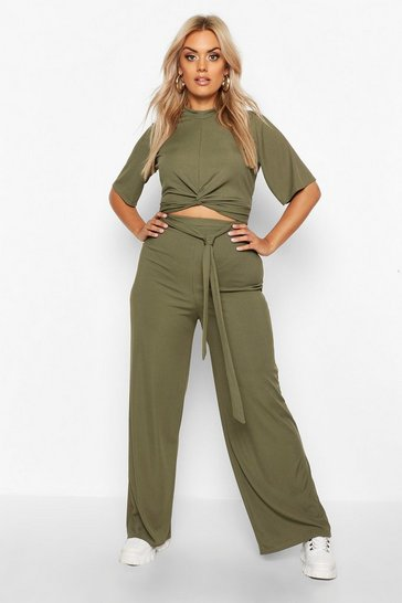 Womens Khaki Plus Slinky Rib Knot Front Top + Trouser Co-Ord