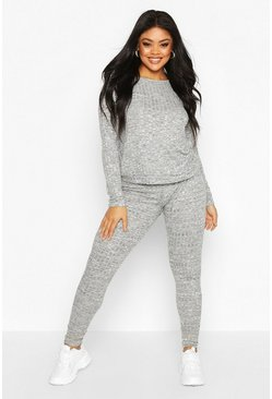 Womens Grey Plus Rib Oversized Top + Jogger Co-Ord