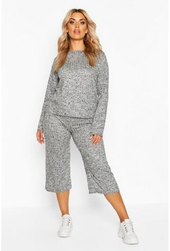 Womens Light grey Plus Rib Long Sleeve Top + Cullotte Co-Ord